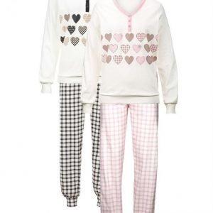 Harmony Pyjama Ecru / Antrasiitti / Roosa