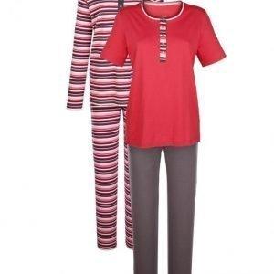 Harmony Pyjama Koralli / Kivenharmaa / Ecru