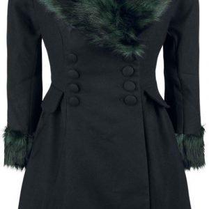 Hell Bunny Rock Noir Coat Naisten Pitkä Talvitakki
