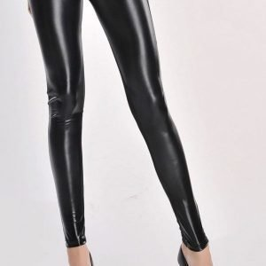 High Waist Metallic Leather Seamed Legging in Black