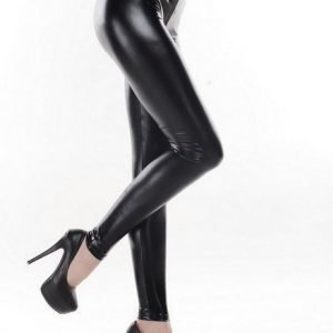 High waist black metallic leggings