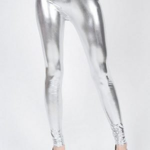 High waist silver metallic leggings