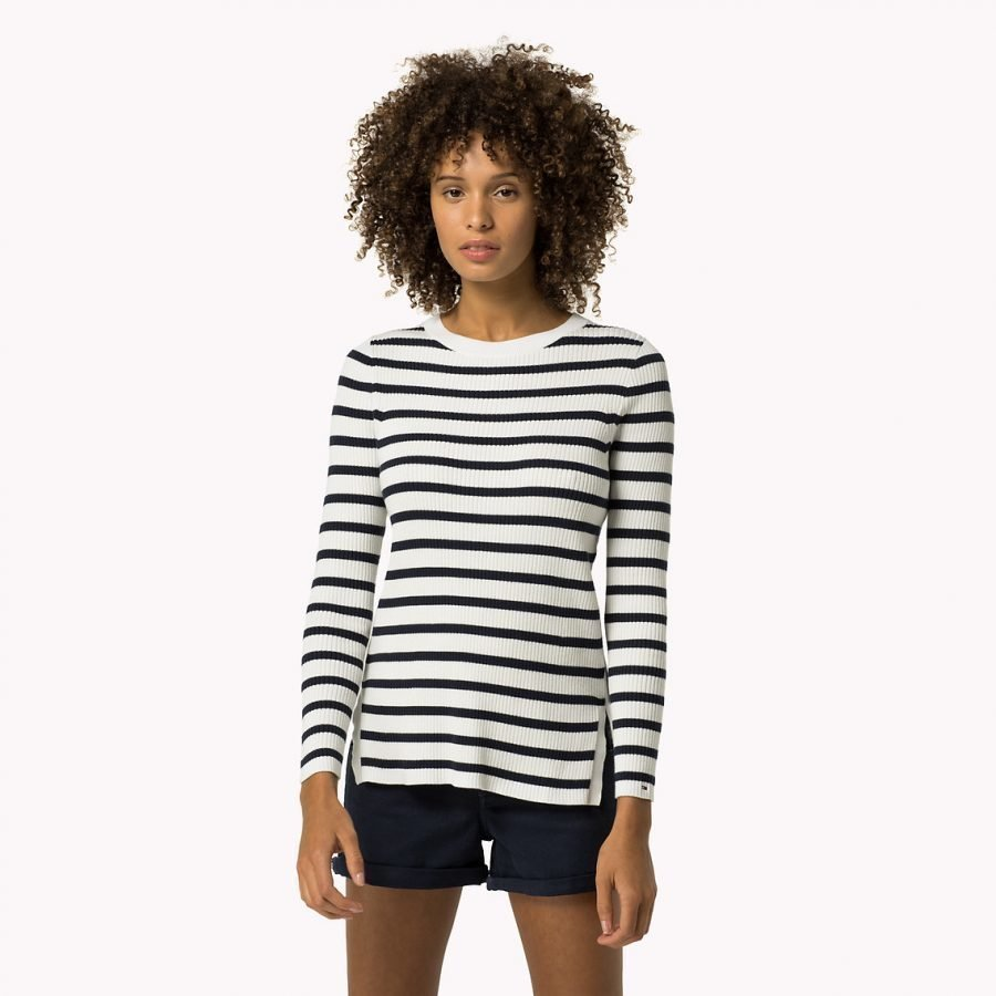 Hilfiger Denim Stripe Sweater Ls Naistenpuuvillaneule