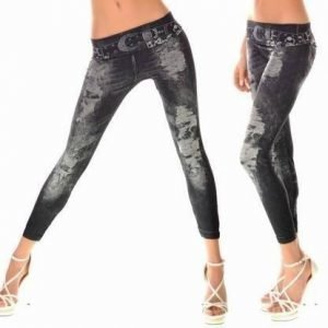 Hole Imitate belt black jeans print leggings
