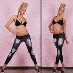 Hole Imitation Jeans Print Black Leggings Jeggings Tights