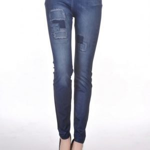 Hole imitation with fake belt blue jeans print leggings