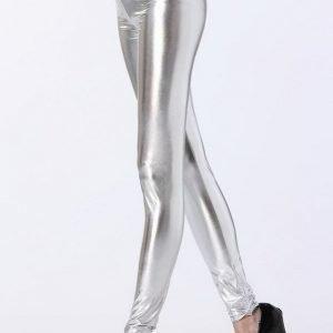 Hopeiset wetlook leggingsit