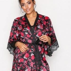 Hunkemöller Satin Flower Kimono Musta