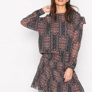 Hunkydory Floral Tie Dress Loose Fit Mekko Navy