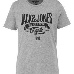 JACK&JONES T-paita Raffa Mel. vaaleanharmaa