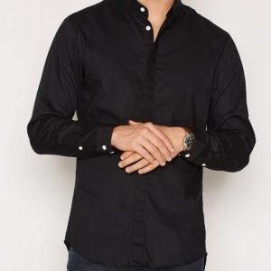 Jack & Jones Jcocrane Shirt L/S no Pocket Kauluspaita Musta