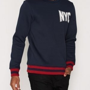 Jack & Jones Joruni Sweat Crew Neck Sweat Ls Swetari Tummansininen