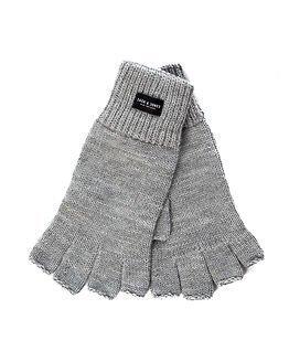 Jack & Jones Thumps Up Fingerless Knit Gloves Light Grey Melange