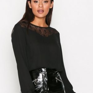 Jacqueline De Yong Jdyginger L / S Lace Top Wvn Arkipaita Musta