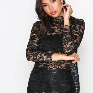 Jacqueline De Yong Jdygoldie L / S Highneck Top Jrs Ka Juhlapaita Musta