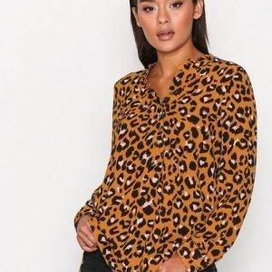 Jacqueline De Yong Jdymilo L / S Placket Shirt Wvn Tunika Tummanruskea