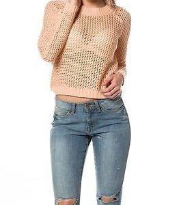 Jacqueline de Yong Aiden Cropped Pullover Knit Peach Parfait