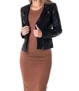Jacqueline de Yong Amy Faux Leather Biker Jacket Black