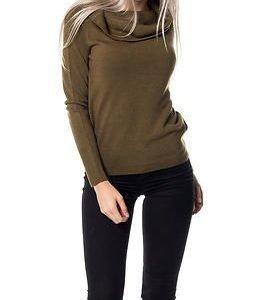 Jacqueline de Yong Bellami Off Shoulder Pullover Knit Dark Olive