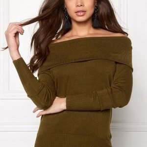 Jacqueline de Yong Bellami off shoulder Dark Olive