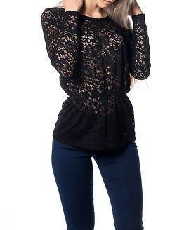 Jacqueline de Yong Chain L/S Lace Top Black