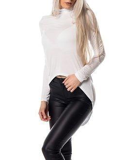 Jacqueline de Yong Laura High/Low Tunnelneck Top Bright White