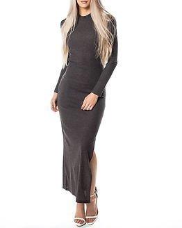 Jacqueline de Yong Ribby Dress Dark Grey Melange