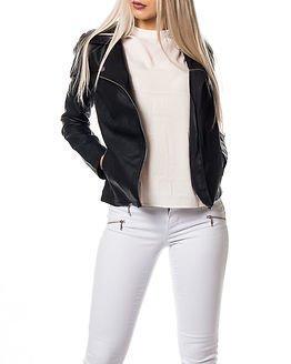Jacqueline de Yong Rich Faux Leather Biker Black