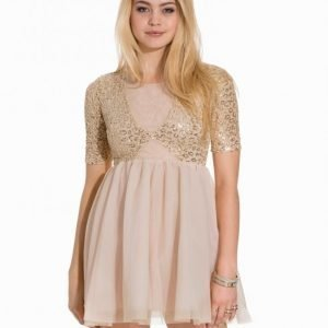 John Zack Contrast Short Sleeve Dress Skater Mekko Gold