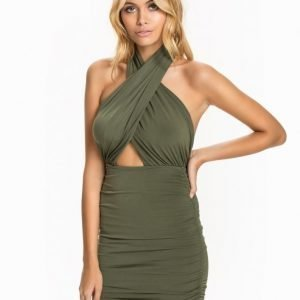 John Zack Cut-Out Halterneck Dress Khaki
