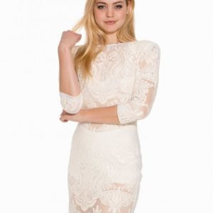 John Zack Lace Deep Back Dress Kotelomekko Creme