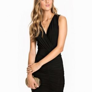 John Zack V-Neck Rouched Dress Champagne