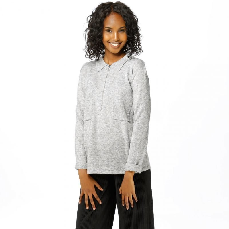 Just Female Polo Zip Knit -zip crew