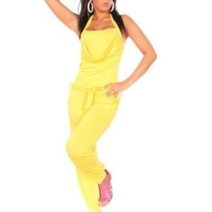 Keltainen halterneck-jumpsuit