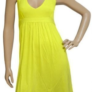 Keltainen halterneck-mekko