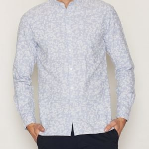 Knowledge Cotton Apparel All Over Flower Shirt Kauluspaita Blue