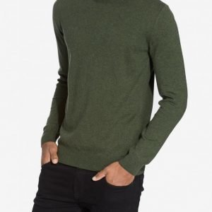 Knowledge Cotton Apparel Basic O-Neck Cashmere/Cotton Pusero Vihreä