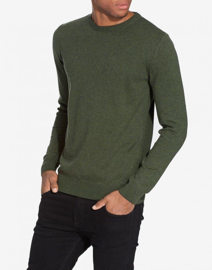 Knowledge Cotton Apparel Basic O-Neck Cashmere/Cotton Pusero Vihreä