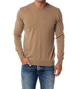 Knowledge Cotton Apparel Basic O-neck Cashmere/Cotton Dessert Sand