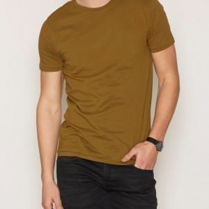 Knowledge Cotton Apparel Basic Regular Fit O-Neck Tee T-paita Ruskea
