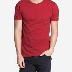 Knowledge Cotton Apparel Basic Regular Fit O-neck T-paita Deep Red
