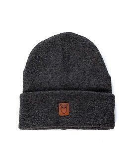 Knowledge Cotton Apparel Beanie Hat Dark Grey Melange