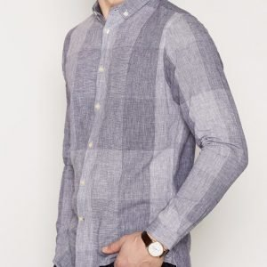 Knowledge Cotton Apparel Big Check Shirt Kauluspaita Peacoat