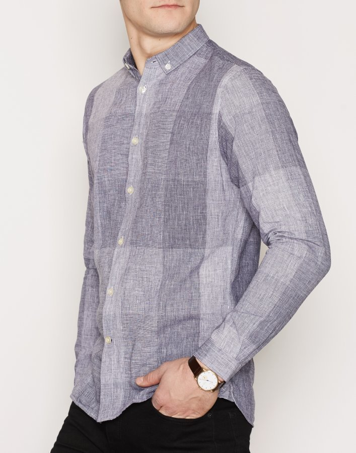 Knowledge Cotton Apparel Big Check Shirt Kauluspaita Peacoat