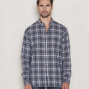 Knowledge Cotton Apparel Checkd Flanel Shirt 1091 Peacoat