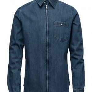 Knowledge Cotton Apparel Denim Shirt W/Zipper Gots