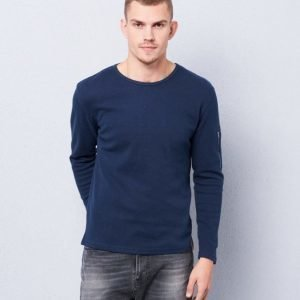 Knowledge Cotton Apparel Diagonal Sweat 1001 Navy