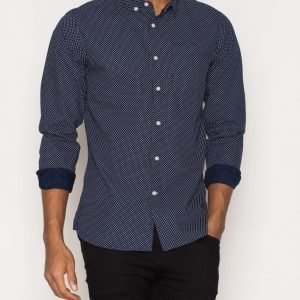 Knowledge Cotton Apparel Dot Printed Poplin Shirt Kauluspaita Peacoat