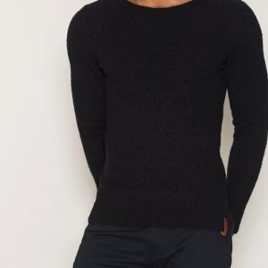 Knowledge Cotton Apparel Fine Moss Round Neck Knit Pusero Total Eclipse