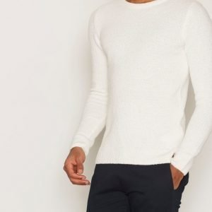 Knowledge Cotton Apparel Fine Moss Round Neck Knit Pusero Winter White